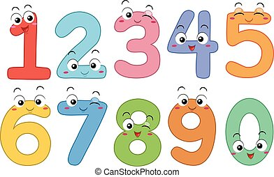 Mascot Numbers - Mascot Illustration Featuring the Numbers 1...