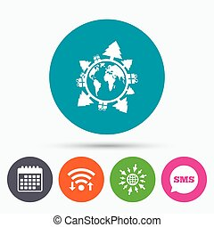 Happy new year earth sign icon. Gifts and trees. - Wifi, Sms...