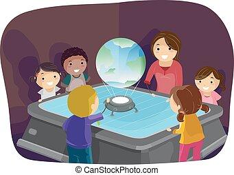 Stickman Kids Earth Hologram Teacher