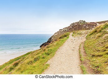 Popular St Agnes and Chapel Porth Atlantic ocean coast,...