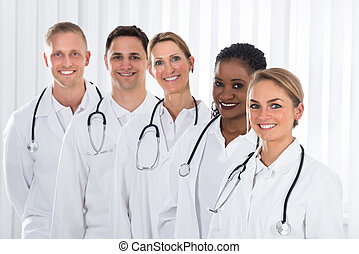 Medical Practitioner Standing In A Line