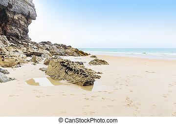 Popular St Agnes and Chapel Porth Atlantic ocean coast,...