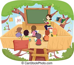Stickman Kids Class Tree House - Stickman Illustration of...
