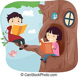Stickman Kids Read Tree House - Stickman Illustration of...
