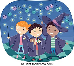 Stickman Kids Boys Wizards - Stickman Illustration of Boys...