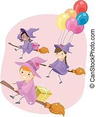 Stickman Kids Flying Witches