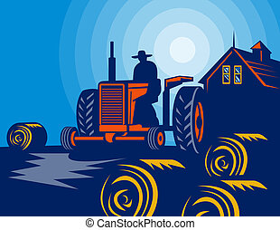Farmer driving vintage tractor with hay bales and farmhouse barn in the background.