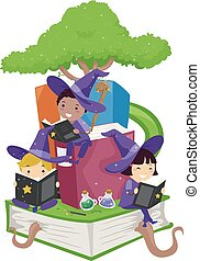 Stickman Kids Wizards Study Tree Books