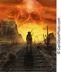 Ghost cowboy illustration. - Illustration of a mystic cowboy...