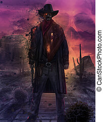 Ghost cowboy character illustration - Illustration of a...