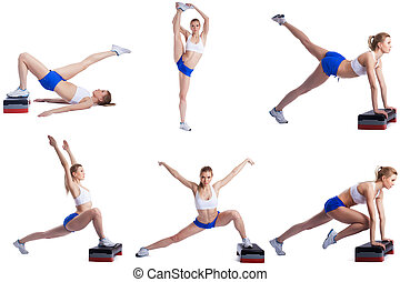 Shaping Photo set of blonde exercising on stepper - Shaping...