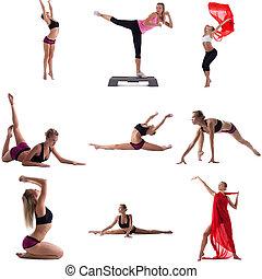Set of girl engaged in aerobics. Isolated on white - Photo...