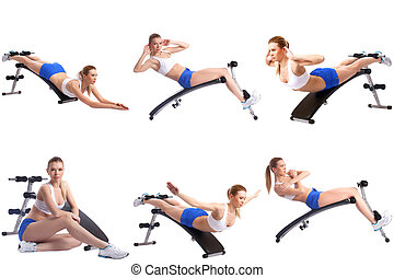 Fitness Photo mix of girl exercising on simulator - Fitness...