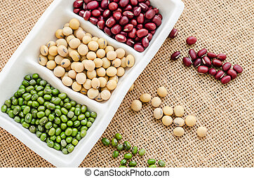 Mix of seeds beans, green bean, azuki or red bean, soy bean...