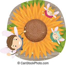 Stickman Kids Fairies Sunflower - Stickman Illustration of...