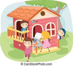 Stickman Kids Play House - Stickman Illustration of Kids...