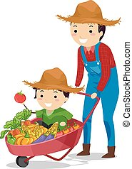 Stickman Family Boy Dad Farmer Harvest