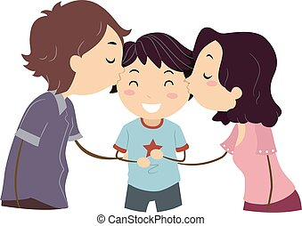 Stickman Family Boy Kissing - Stickman Illustration of...
