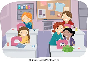 Stickman Girls Sewing Class - Stickman Illustration of Girls...