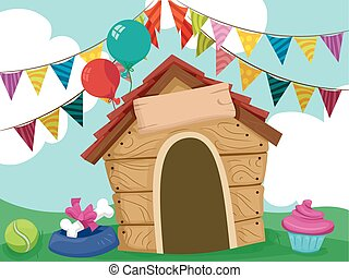 Dog House Party Sign Board - Illustration of a Dog House...