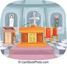 Catholic Church Altar Interior - Illustration Featuring the...