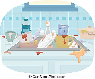 Kitchen Sink Dirty Dishes - Illustration Featuring a Sink...