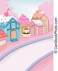 Candy Town - Whimsical Illustration Featuring a Town...