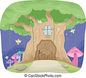 Fairies Fantasy Tree - Whimsical Illustration Featuring a...