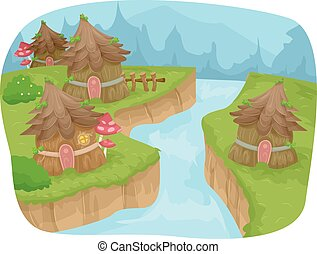 Fairy Ville - Whimsical Illustration Featuring a Fairy...