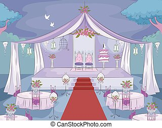 Wedding Reception Night - Illustration Featuring a Wedding...