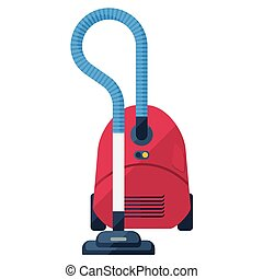 Vacuum cleaner flat icon. Red domestic dustsucker or hoover...
