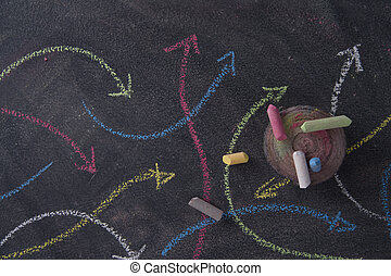 Colored arrows curvilinear - Curved colored arrows drawn...