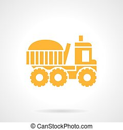 Farming truck yellow glyph style vector icon