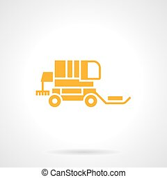 Straw gathering machinery glyph style vector icon - Bright...