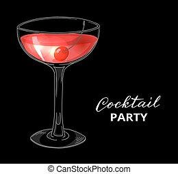 Hand drawn cocktail with cherry against dark background