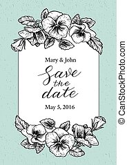 Save the date wedding invitation with hand drawn pansy...