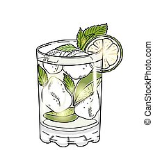 Hand drawn mojito cocktail isolated on white background....