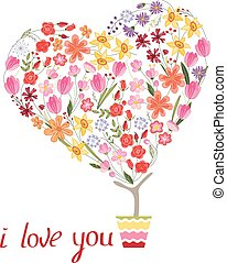 Stylized tree in cute flower pot. Topiary with heart made of different flowers