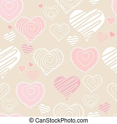 Seamless pattern with hearts. Pastel soft colors. Endless...