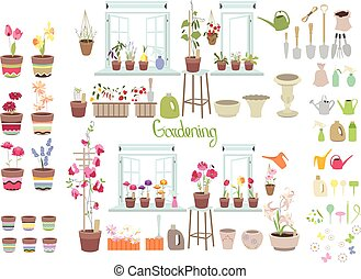 Gardening tools for plants isolated on white. Objects for...