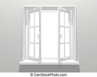 Window - Opened plastic window. 3d render
