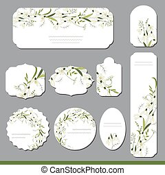 Collection with different floral paper labels for...