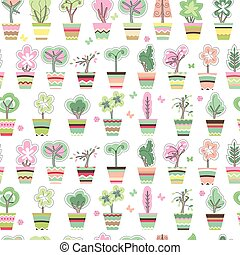 Seamless pattern with cute striped flower pots and growing...