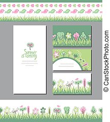 Summer greeting cards. Phrase Summer is coming. Blossoming...
