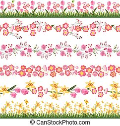 Festive spring seamless pattern brushes. Endless horizontal borders with flowers on green grass.For your design, greeting cards,  wrappings, fabrics, announcements.