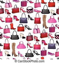 Seamless pattern with womans bags and shoes. Endless texture...