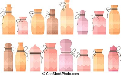 Small vintage decorative bottles on white