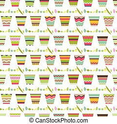 Seamless pattern with cute striped flower pots. Endless...