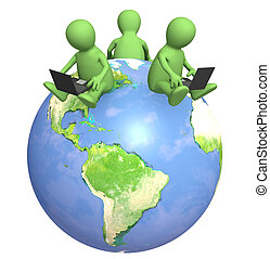 Internet - 3d puppets with laptops on Earth - over white