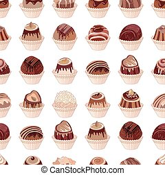 Seamless pattern with different kinds of chocolate candies -...